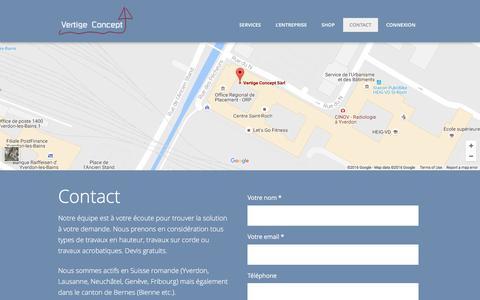 Screenshot of Contact Page vertige-concept.ch - Contact - Vertige Concept Travaux en hauteur - captured Nov. 17, 2016