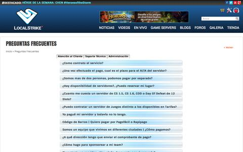 Screenshot of FAQ Page localstrike.net - Preguntas Frecuentes | LocalStrike Game Servers | Live your game! - captured Sept. 18, 2014