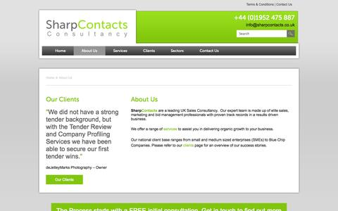 Screenshot of About Page sharpcontacts.co.uk - About Us | Sharp Contacts - captured Oct. 9, 2014