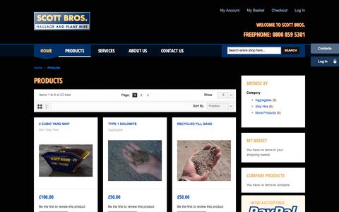 Screenshot of Products Page scottbros.com - Products - Scott Bros - captured Dec. 22, 2015