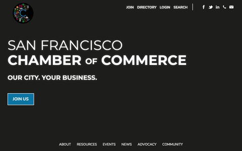 Screenshot of Home Page sfchamber.com - Home | San Francisco Chamber of Commerce - captured Oct. 1, 2018