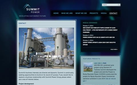 Screenshot of Contact Page summitpower.com - Contact | Summit Power - captured Oct. 7, 2014