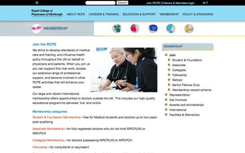 Screenshot of Signup Page rcpe.ac.uk - Membership | Royal College of Physicians of Edinburgh - captured Oct. 7, 2014