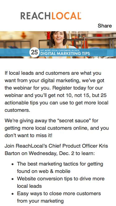 Free Webinar - Get More Local Customers: 25 Digital Marketing Tips for 2016