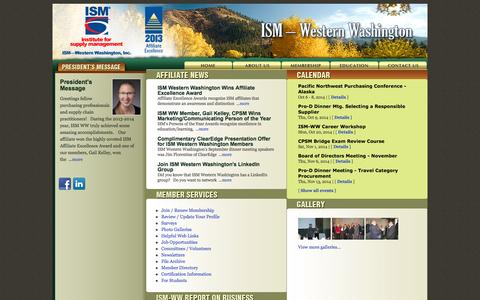 Screenshot of Home Page Privacy Page Jobs Page Login Page ismww.org - ISM - Western Washington - captured Oct. 6, 2014