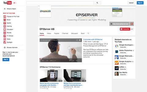 Screenshot of YouTube Page youtube.com - EPiServer AB  - YouTube - captured Oct. 22, 2014