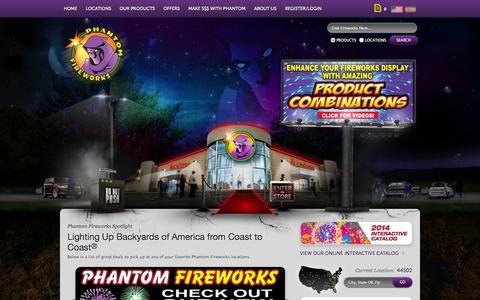 Screenshot of Home Page fireworks.com - Phantom Fireworks : America's Fireworks Company - captured Sept. 22, 2014