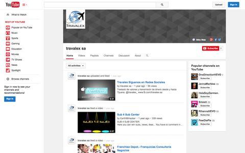 Screenshot of YouTube Page youtube.com - travalex sa  - YouTube - captured Oct. 26, 2014