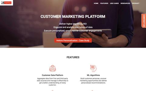 Screenshot of Products Page manthan.com - Customer Analytics Software | Manthan - captured Jan. 18, 2018