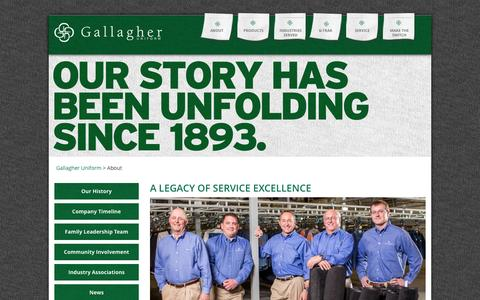 Screenshot of About Page gallagheruniform.com - A legacy of service excellence, from generation to generation - captured Dec. 7, 2015