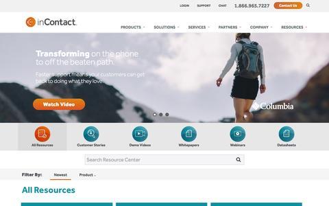 Screenshot of Case Studies Page incontact.com - Resource Finder - captured Oct. 4, 2016