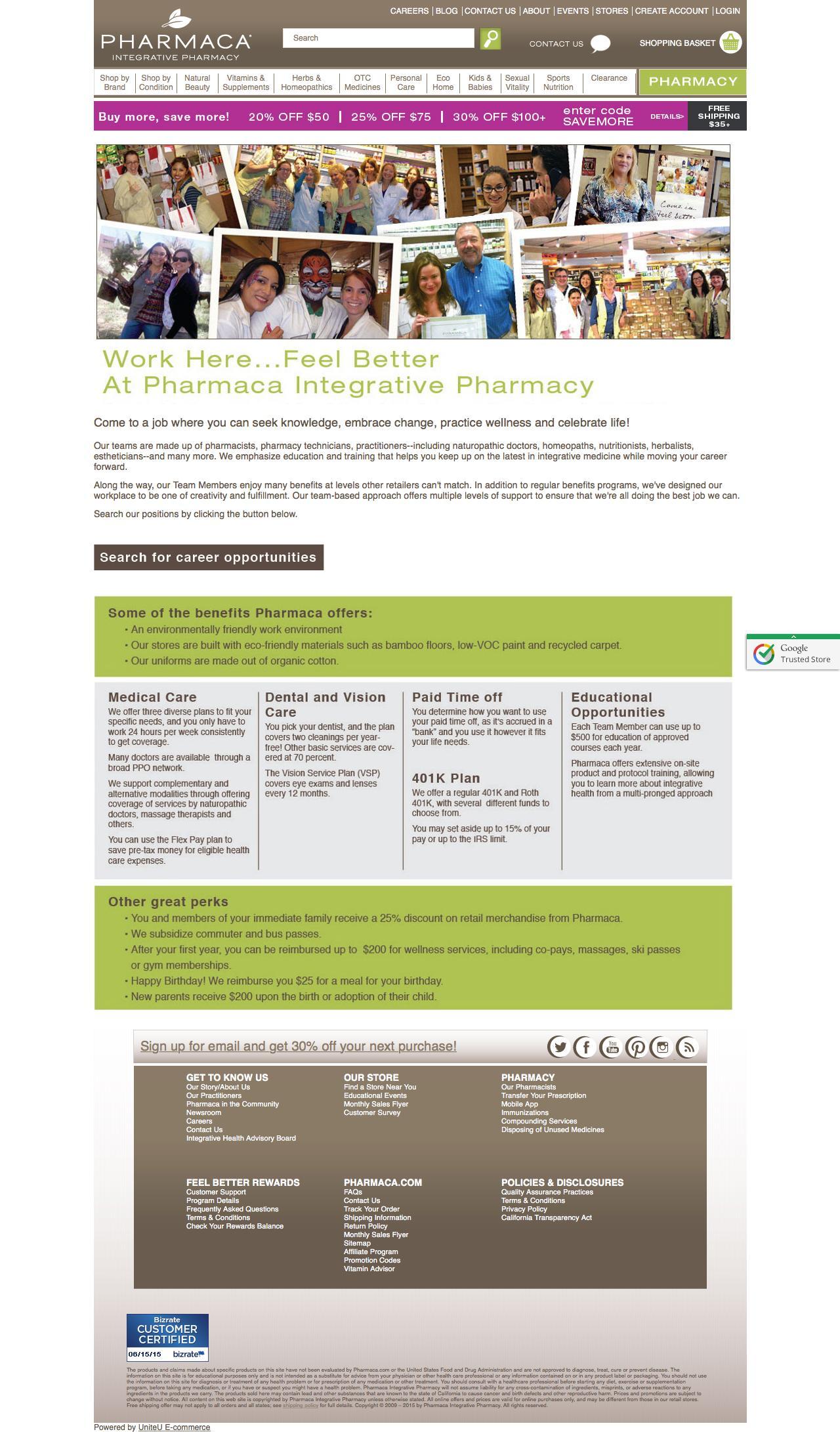 Screenshot of pharmaca.com - Work here, feel better at Pharmaca Integrative Pharmacy - captured June 16, 2015