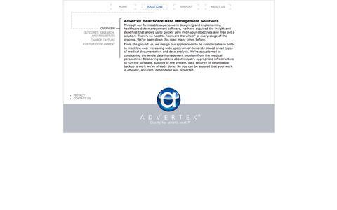 Screenshot of Products Page advertek.net - Advertek Solutions Overview - captured Feb. 5, 2016
