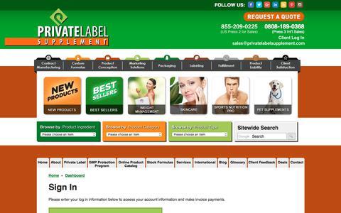 Screenshot of Login Page privatelabelsupplement.com - Private Label Supplement - Users - Login - captured July 22, 2018
