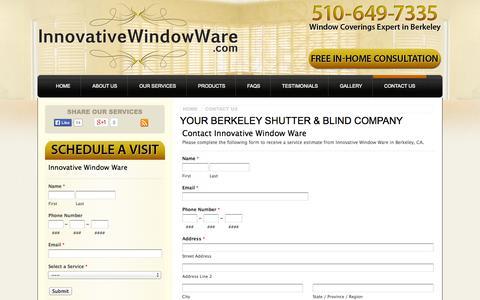 Screenshot of Contact Page innovativewindowware.com - Contact a Berkeley Shutter & Blind Company - Contact Us   Innovative Window Ware - captured Sept. 30, 2014