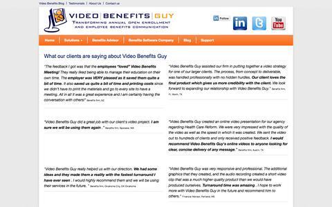 Screenshot of Testimonials Page videobenefitsguy.com - Employee benefits, benefits videos, reviews, testimonials - captured Oct. 7, 2014
