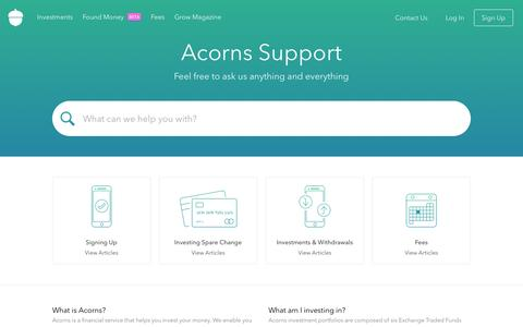 Screenshot of FAQ Page Support Page acorns.com - Acorns - captured June 9, 2016