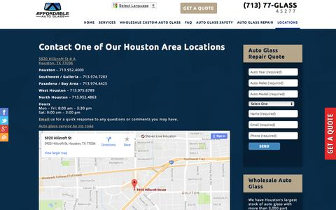 Screenshot of Contact Page Locations Page affordableautoglass.com - Contact Houston Auto Glass Replacement Specialists - Affordable Auto Glass - captured April 16, 2017