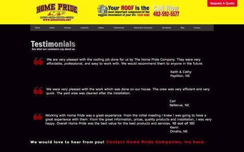 Screenshot of Testimonials Page homepride.net - Testimonials | Home Pride Companies, Inc. - captured Oct. 2, 2014