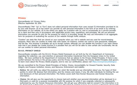 Screenshot of Privacy Page discoverready.com - eDiscovery Privacy, EU-US Privacy Shield Framework | DiscoverReady - captured Nov. 19, 2016