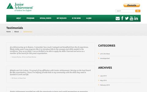 Screenshot of Testimonials Page janewengland.org - Testimonials  |  Junior Achievement of Northern New England - captured Oct. 6, 2014