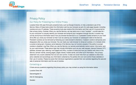Screenshot of Privacy Page localizedirect.com - Privacy Policy - captured Oct. 28, 2014