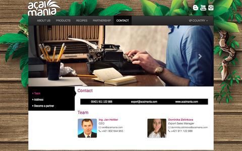 Screenshot of Team Page acaimania.com - Contacts - captured Nov. 20, 2016