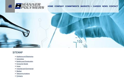 Screenshot of Site Map Page mannerpolymers.com - Manner Polymers | Home | Dallas TX - captured July 22, 2016