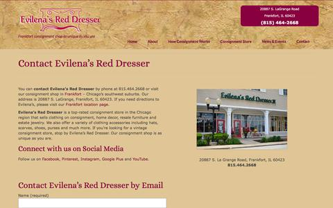 Screenshot of Contact Page evilenasreddresser.com - Contact Evilena's Red Dresser - 20887 S. La Grange Road - captured Dec. 12, 2015