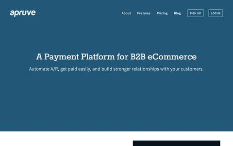 Screenshot of Home Page apruve.com - Business Payments for E-Commerce  | Apruve - captured Dec. 4, 2015