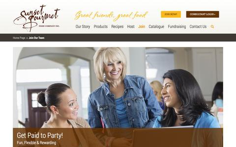 Screenshot of Signup Page sunsetgourmet.ca - Join Our Team - Sunset Gourmet - captured Oct. 29, 2014
