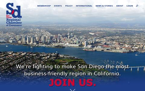 Screenshot of Home Page sdchamber.org - Homepage - SD Regional Chamber - captured Oct. 29, 2015