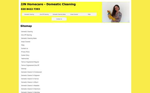Screenshot of Site Map Page jjn-homecare.co.uk - JJN Homecare - Domestic Cleaning - captured May 27, 2017