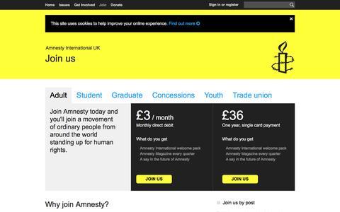 Screenshot of Signup Page amnesty.org.uk - Adult | Amnesty International UK - captured Nov. 25, 2016
