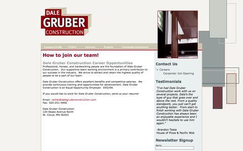 Screenshot of Jobs Page dalegruberconstruction.com - Careers - St. Cloud General Contractors - captured Sept. 30, 2014