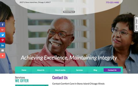 Screenshot of Contact Page comfortcarehha.com - Contact Comfort Care for home health care in Chicago, IL - captured Nov. 10, 2016