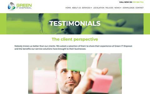 Screenshot of Testimonials Page greenitdisposal.co.uk - Testimonials - captured July 24, 2018