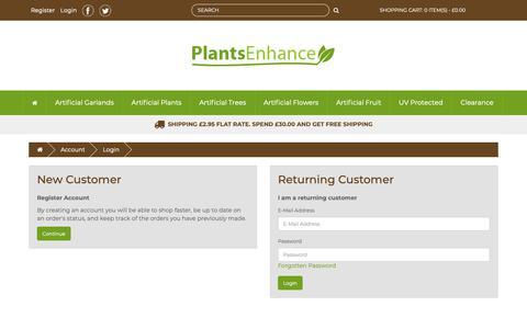 Screenshot of Signup Page Login Page plantsenhance.com - Account Login - captured Sept. 28, 2018