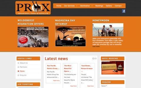 Screenshot of Press Page proxadventures.com - News - captured Oct. 27, 2014