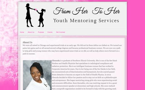 Screenshot of About Page fromhertoher.com - From Her to Her Youth Mentoring Services | About Us - captured Oct. 6, 2014