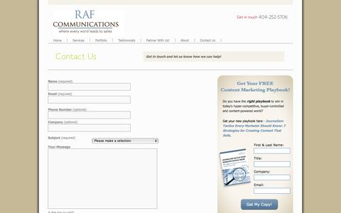 Screenshot of Contact Page raf-communications.com - Contact Us | RAF Communications - captured Oct. 9, 2014