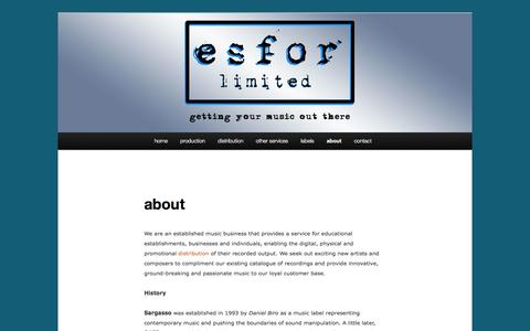 Screenshot of About Page esforlimited.com - about | Esfor Limited - captured Sept. 26, 2014