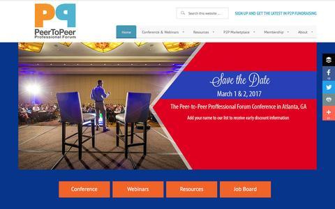 Screenshot of Home Page peertopeerforum.com - Peer-to-Peer Professional Forum - Peer-to-Peer Fundraising - captured Oct. 29, 2016