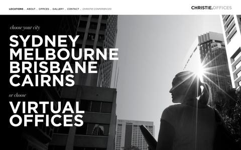 Screenshot of Home Page Locations Page christieoffices.com.au - Home - Christie Offices - captured Oct. 2, 2014