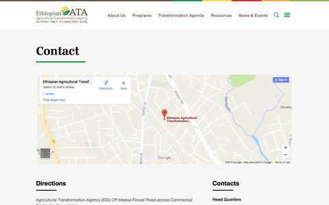 Screenshot of Contact Page ata.gov.et - Contact - ATA - captured Nov. 10, 2016