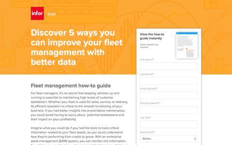 Screenshot of Landing Page infor.com - Infor EAM: Improve Your Fleet Management with Better Data - captured April 1, 2018