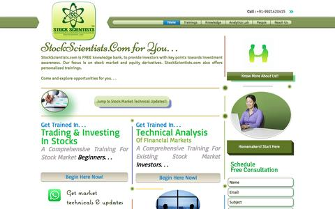 Screenshot of Home Page stockscientists.com - Stock Market Training and Investment Knowledge Bank - captured Dec. 14, 2016
