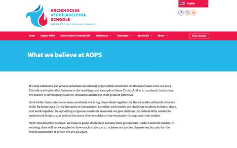 Screenshot of About Page aopcatholicschools.org - About AOPS | Archdiocese of Philadelphia Schools - captured Oct. 23, 2018