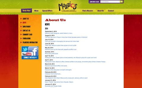 Screenshot of Press Page mazzios.com - Mazzio's Italian Eatery - News - Press Release, Public Relations, About Us - captured Nov. 3, 2014