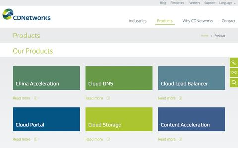 Screenshot of Products Page cdnetworks.com - Global Cloud Acceleration | CDNetworks - captured May 11, 2017